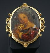 French Victorian 14k Gold Lady And Cat Miniature Portrait Pin Brooch 2 Og275