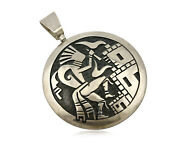 Navajo Spinner Pictograph Spinner Signed Artist Tt .925 Solid Silver Circa 80and039s
