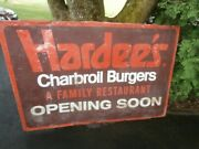 2 Vintage Large Metal Hardeeand039s Restaurant Charbroil Burgers Signs Opening Soon