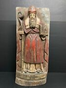 Large Carved Wood Religious Polychrome Saint Augustine Plaque
