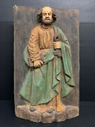 Large Carved Wood Religious Polychrome Saint Peter Plaque