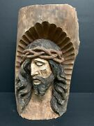 Large Carved Wood Religious Jesus Christ Plaque