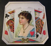Wholesale Lot Of 10 Old - Queen Of Hearts - Outer Cigar Box Labels Playing Cards