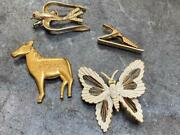 Vtg Lot - Butterfly Bird Horse Pins/brooches- Costume Jewelry