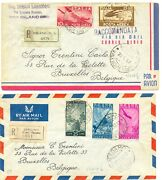 Italy 1947 - 2 X Flight Cover To Belgium - 1 With Poster Stamp -f/vf