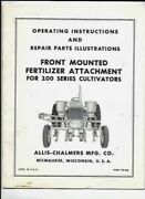Allis-chalmers Front Mounted Fertilizer Attachment Operating Instructions Manual