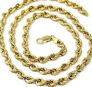 18k Yellow Gold Chain Necklace 6 Mm Big Braid Rope Link 23.6 Made In Italy