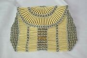 Antique 1930s Flapper Beaded Loop Dance Purse Cream Silver Pearlised Glass Deco