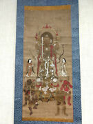 Buddhist Deity On Hanging Scroll With Hand Paint Antique For Museum Collection
