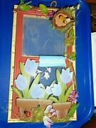 Welcome Sign Wooden Screen Door W Tulips Lady Bug Flowers Bumble Bees Nest