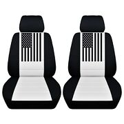 Two Front Customized Seat Covers American Flag Fits Chevrolet Silverado