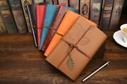 20x Vintage Leaves Leather Cover Loose Leaf Blank Notebook Journal Diary Notepad