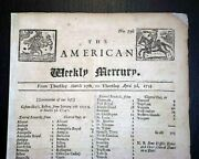 Philadelphia Pa Colonial Pennsylvania Very Rare And Early 1735 Original Newspaper