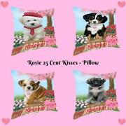 Rosie 25 Cent Kisses Dog Cat Pet Lover Throw Decorative Pillow 18x18 In