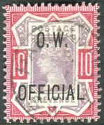 Sg O35 10d Dull Purple And Carmine Ovpt O.w. Official Fine Used With Cert