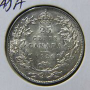 1921 Canada 25andcent Quarter - Scarce Date - Nice Au Light Toning