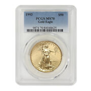 1993 50 Gold Eagle Pcgs Ms70 Certified 1oz 22kt Modern American Bullion Coin