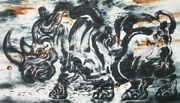 04 Wall Decor Abstract Art Painting Original Acrylic On Mulberry Paper Thailand