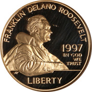 1997-w F.d. Roosevelt Commem Gold 5 Ngc Pf69 Ultra Cameo Brown Label - Stock