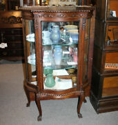 Antique Oak Curio China Cabinet – Serpentine Glass – Only 52″ Height