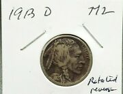 1913 D Type 2 Buffalo Nickel Vf Very Fine Toned 20 Rotated Die Error Variety