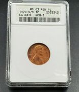1970 S Lincoln Memorial Cent Anacs Ms63 Rd Pl Rpm 001 Pl Proof Like Variety Coin