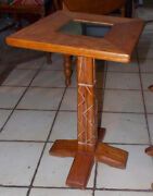 Mid Century Solid Oak Ranch Oak Plant Stand / Fern Stand Rp-ps266
