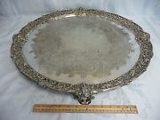 Magnificent Antique 24 Sheffield England Ornate Footed Silver Plate Tray
