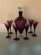 Vintage Cambridge Amethyst Decanter And 6 Sherry Glasses- 7966