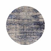 9and039x9and039 Blue Broken Mosaic Design Wool And Silk Hand Made Round Rug R58015