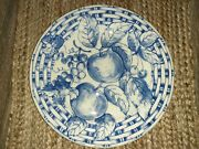 Pier 1 Dinner Plate Blue And White Fruit /basketweave Pattern Italy