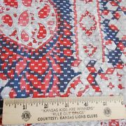 4 Yards Vintage Rare Sheer Flocked Voile Fabric Red White Blue Retro Mod