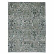 9and039x11and0396 Gray Willow And Cypress Tree Design Natural Wool Hand Made Rug R54870