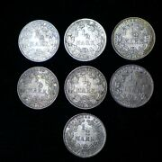 Lot Of 7 German 1/2 Mark Silver Coins 1906 - 1919 - Nice Au/unc