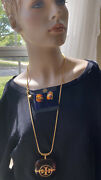 Tory Birch Vintage Tortoise Shell Necklace And Clip Earrings Fabulous Set