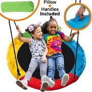 Outdoor Round Tree Swing For Kids - 40 Round Saucer Swing - Large Tree Swings