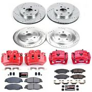 Kc4134a Powerstop Brake Disc And Caliper Kits 4-wheel Set Front And Rear New