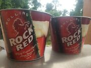 Rolling Rock Red Ice Bucket Very Rare Set Of 2