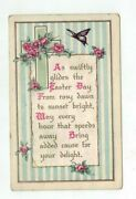 1919 Whitney Easter Post Card Butterfly Roses Blue And White Pinstripe