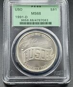 1991 D Pcgs Bu Ms68 Green Holder Pcgs Ogh Uso Commemorative Silver Dollar Coin