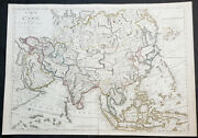 1780 1830 Jean Baptiste Clouet And Pierre Jean Large Antique Wall Map Of Asia