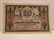 Germany Early Banknote 20 Mark 1915 P63 Xf/au