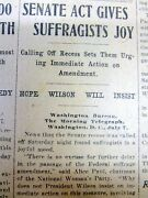1918 Newspaper Women Suffrage Act Pushed By Alice Paul And National Women's Party