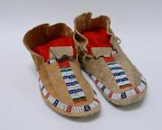 Antique Ute Beaded Indian Hide Moccasins - Full Size Mans