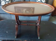 Mid Century Mahogany Oval Coffee Table Serving Glass Tray By Imperial Rp-ct117