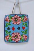 Antique Plateau Indian Beaded Bag With Flower 11 1/4 X 9 1/2 With Card Suits