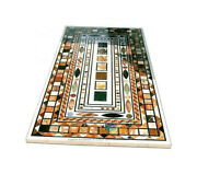 4and039x2and039 Marble Multi Mosaic Inlay Designer Dining Table Top Restaurant Decor B441
