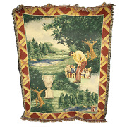 Pga Tour Golf Afghan Woven Tapestry Throw Blanket Golfer Putting Trophy 48x60