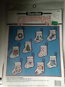 Bucilla Christmas Counted Cross Stitch 10 Tiny Victorian Stockings Ornaments New