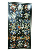 5and039x3and039 Marble Center Dining Table Top Semi Precious Fine Floral Inlay Decors B457